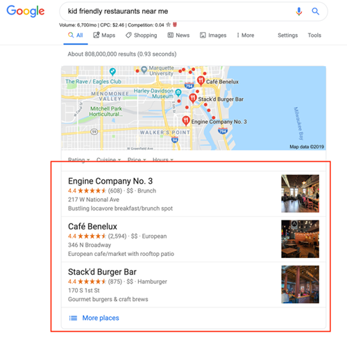 Local 3 pack listing on Google results page